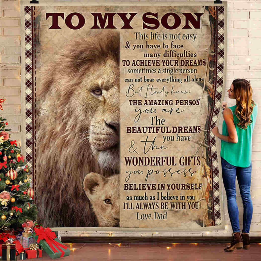 Dad And Son Lion Blanket - I Will Always Be With You King Quilt