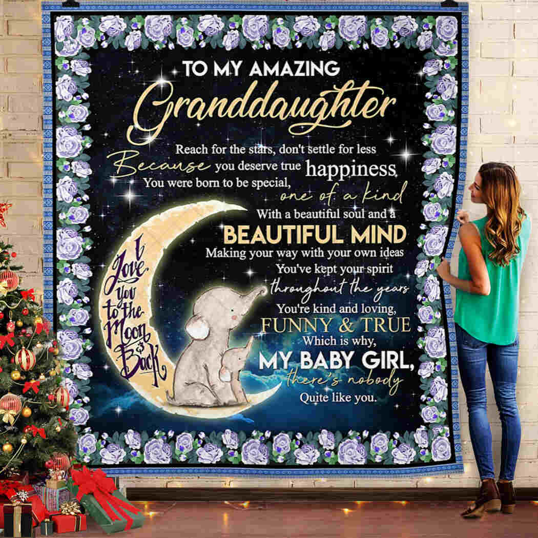 Elephant To My Granddaughter - I Love You To The Moon And Back Quilt Blanket - You're Kind And Loving Funny &true Blanket Quilt