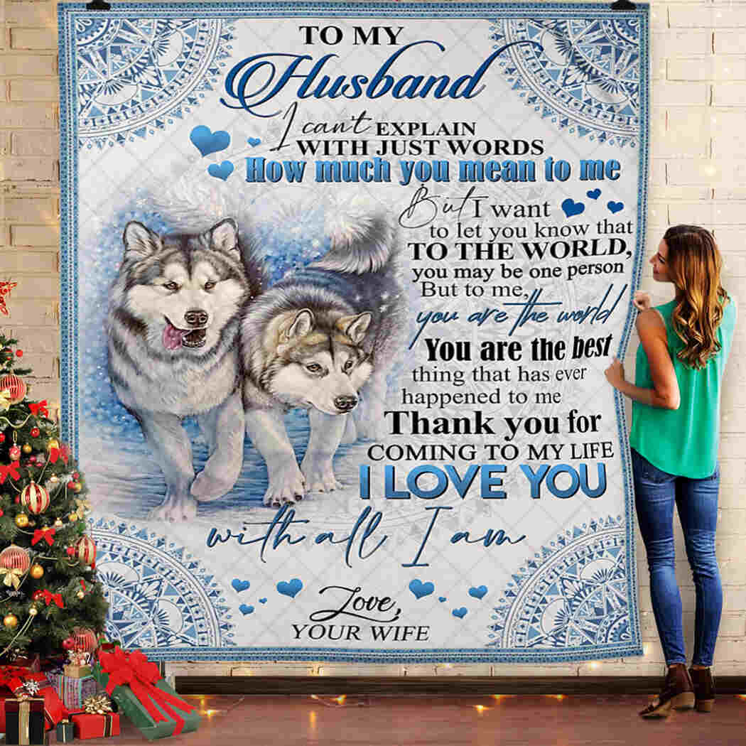 To My Husband - Woft - I Love You With All I Am Blanket