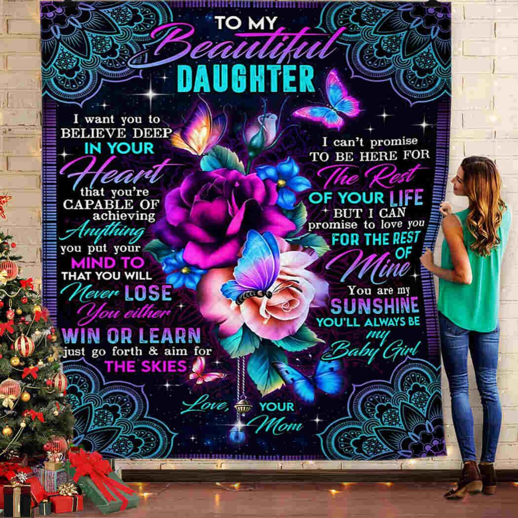 To My Beautiful Daughter Blanket  - Rose And Mandala, Mom Blanket