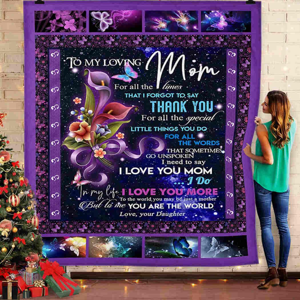 To My Loving Mom - I Love You Mom Blanket