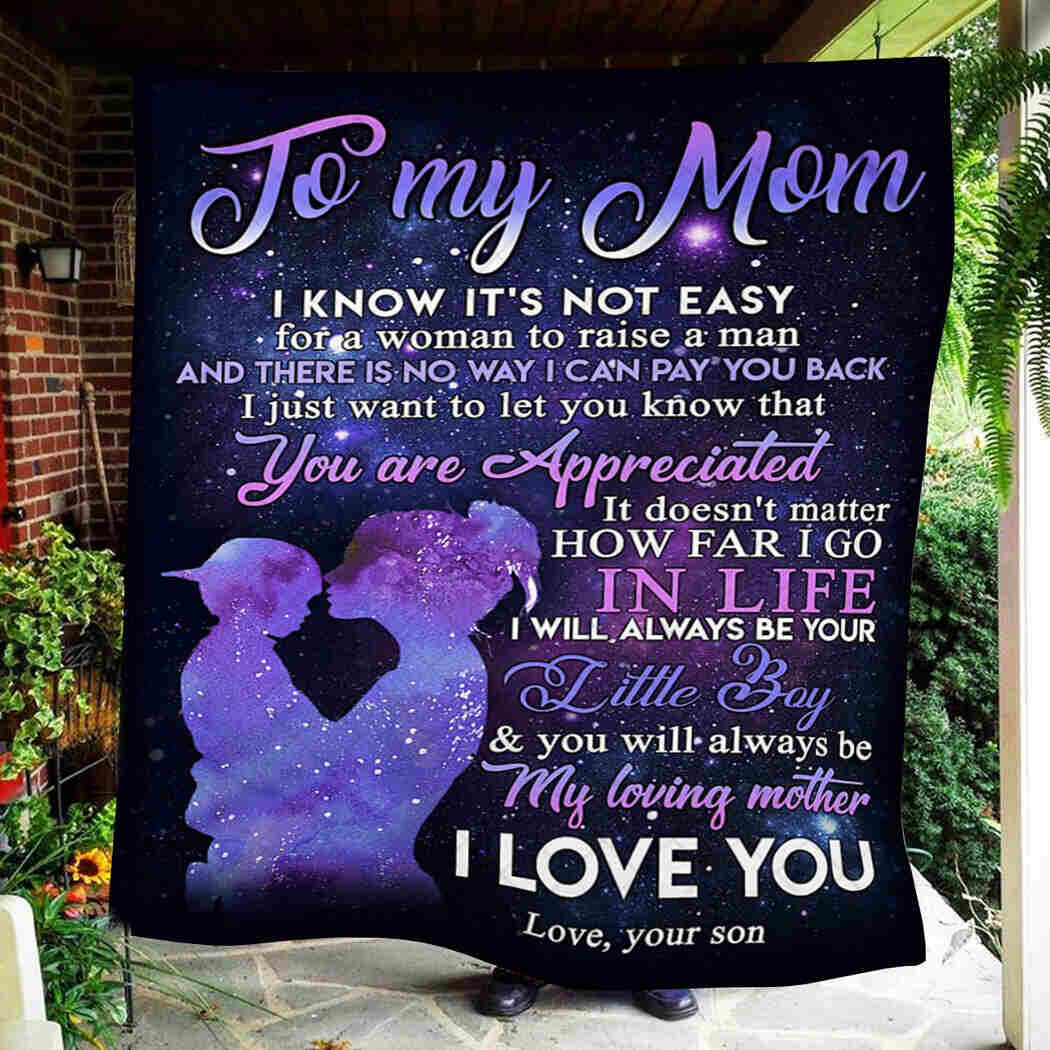 To My Mom Blanket - I Love You Mom Quilt