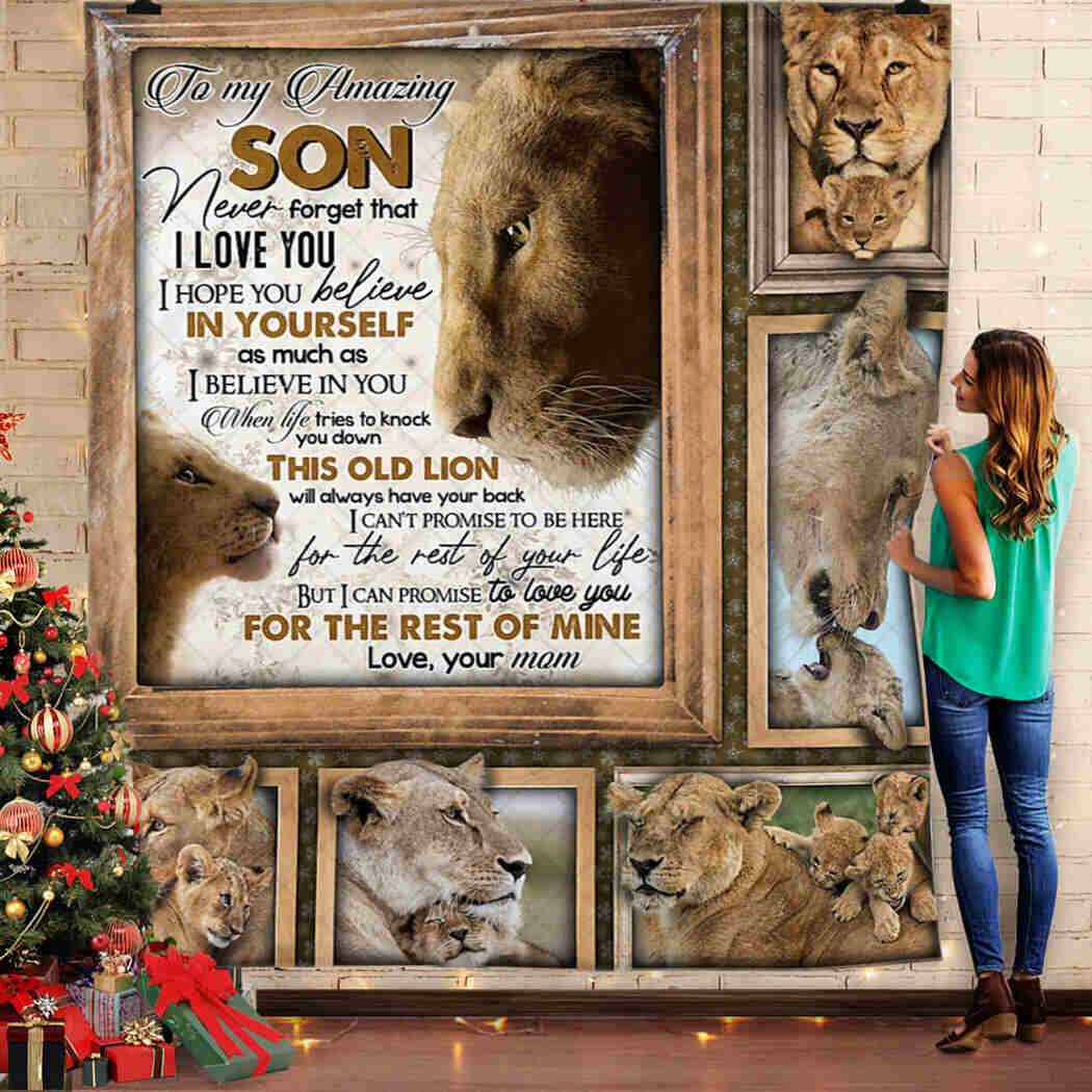 To My Son. Lion Lover Blanket From Mom