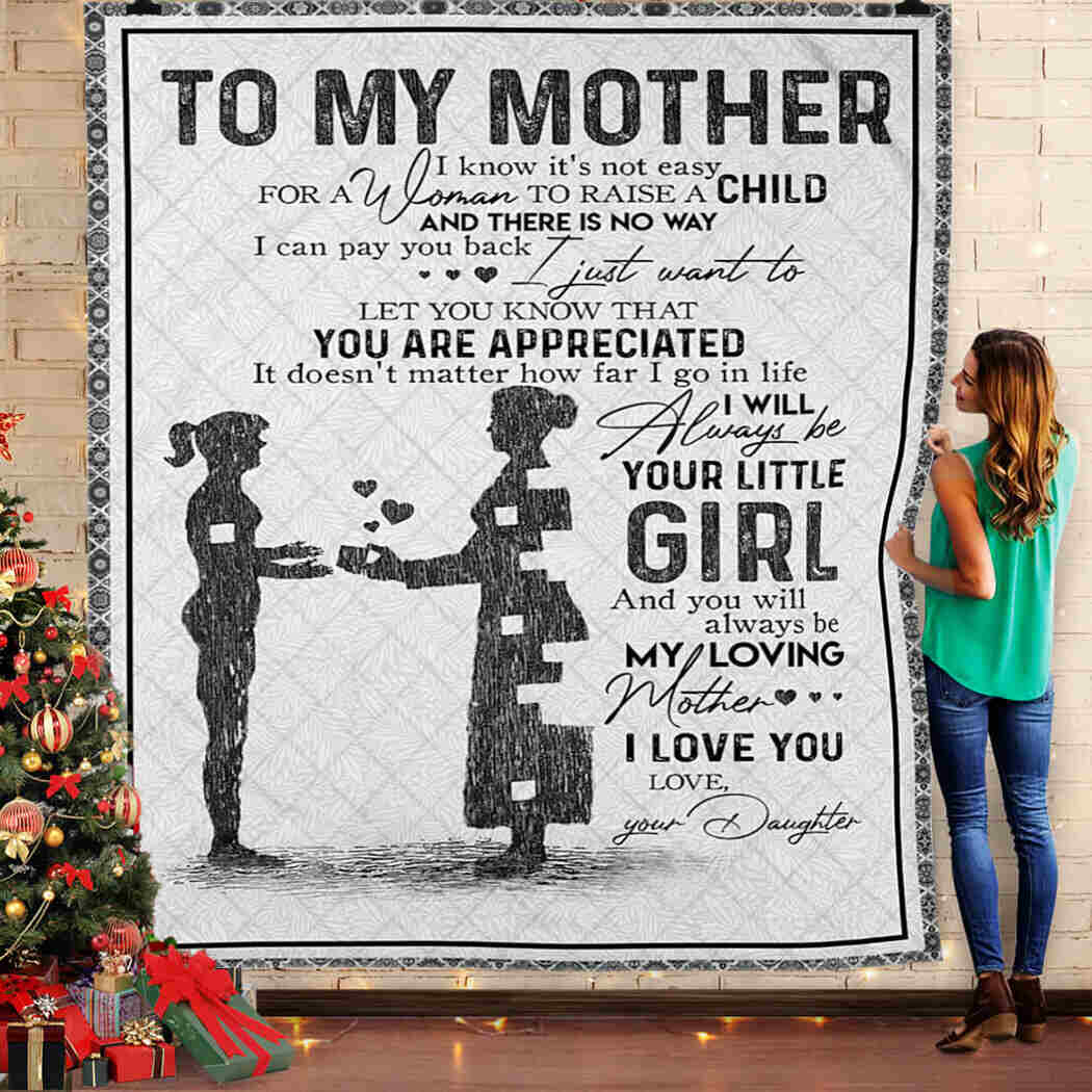To My Mother. Girl Love You Mom Queen Blanket Quilt