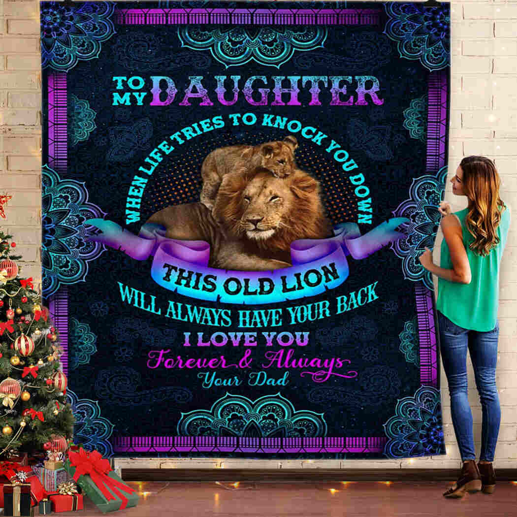 To My Daughter. Lion And Mandala Lover Queen Quilt Blanket