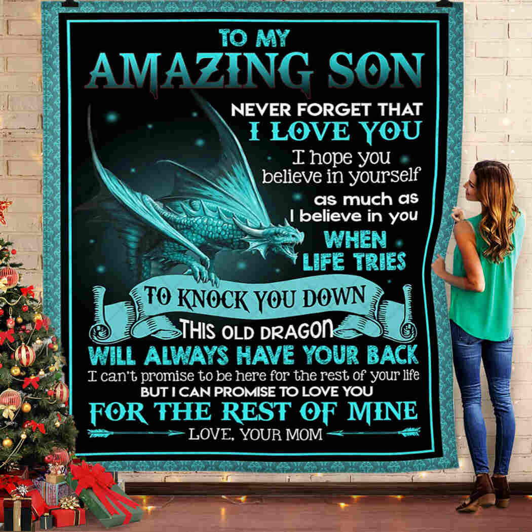 To My Son. I Love You From Mom Quilt Blanket