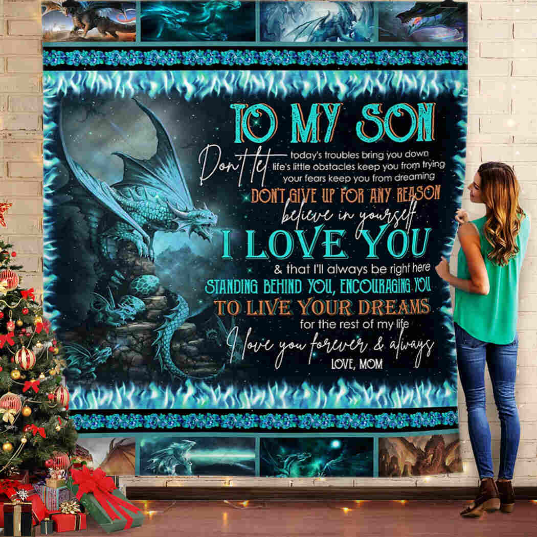 To My Son Blanket - Dragon Throw Blanket - Love, Mom