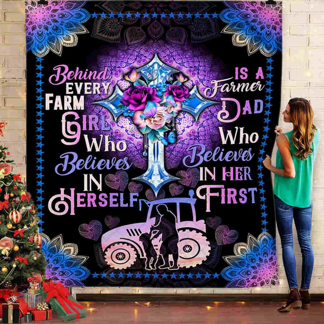 God - Farm - Behind Every Farm Girl Who Believes In Herself Blanket