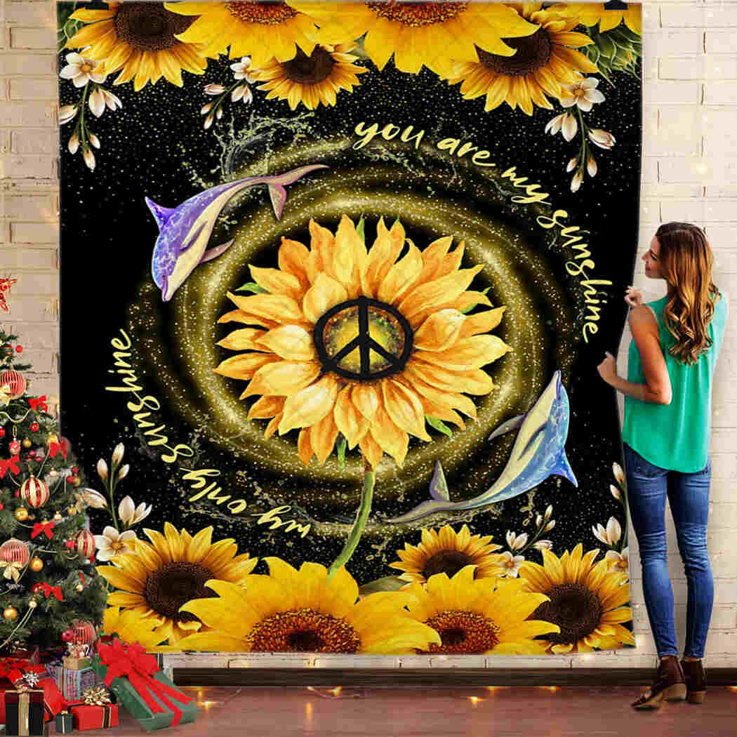 Dolphin - You Are My Sunshine - Sunflower Blanket