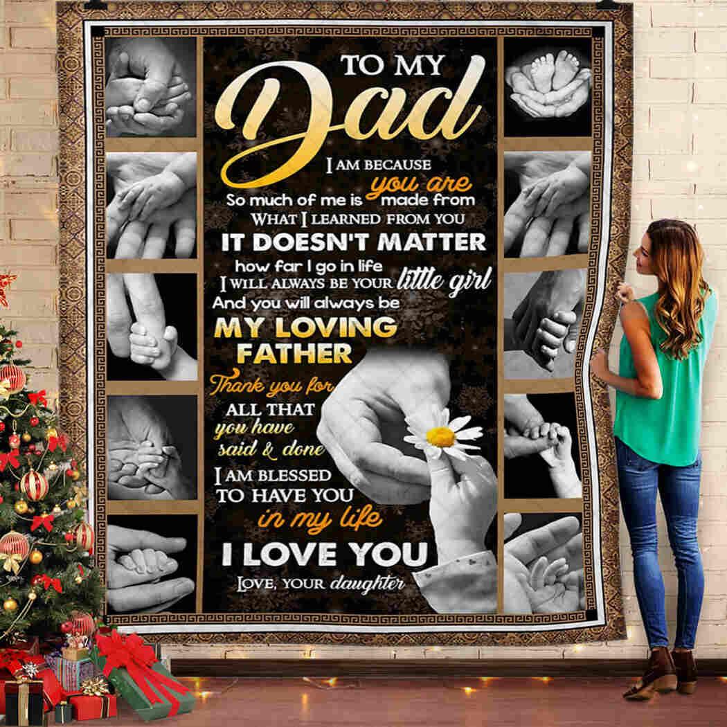 Dad - Holding Little Hand -  I Love You Blanket