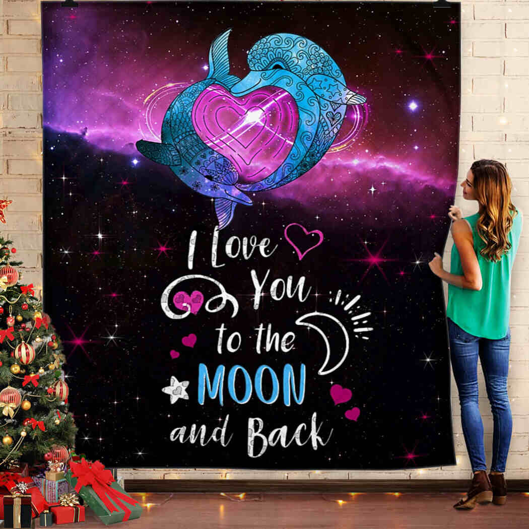 Couple Dophin Blanket - I Love You To The Moon And Back Blanket Quilt