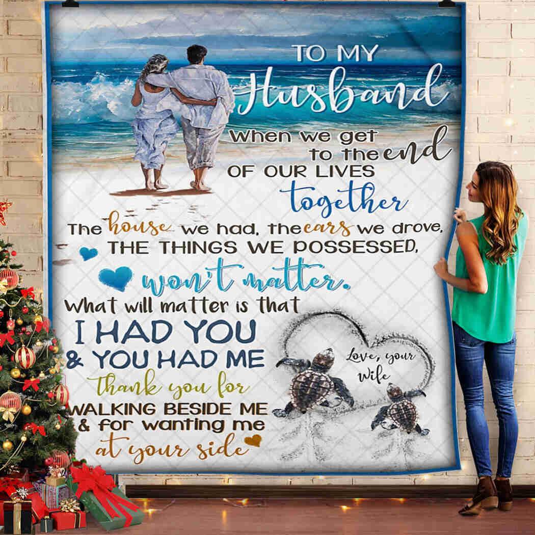 To My Husband - Turle - Beach - I Love You Blanket