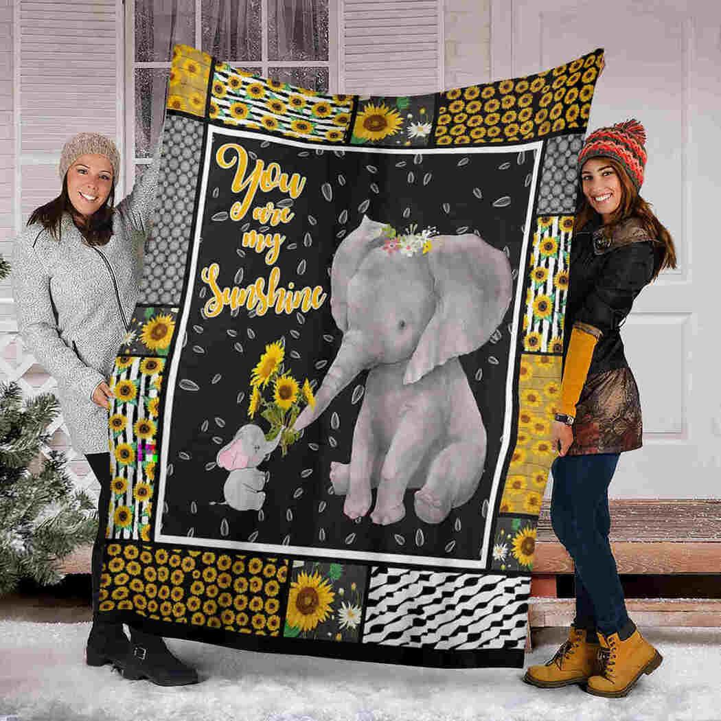 Elephants Sunflower Blanket - You Are My Sunshine Blanket