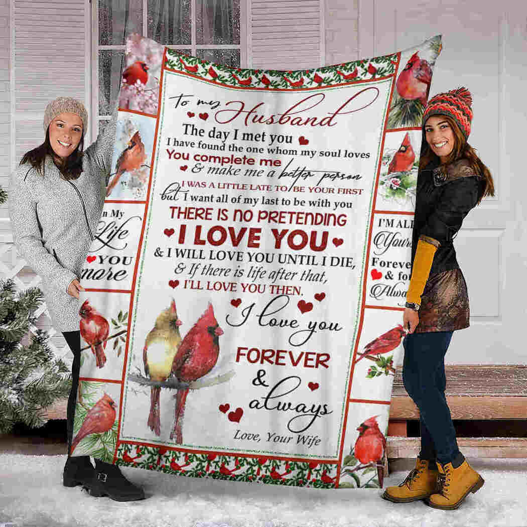 To My Husband - Couple Cardinal - You Complete Me Blanket