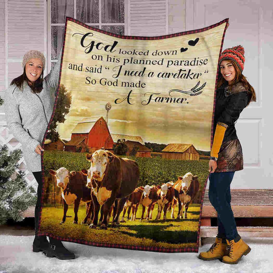 Cow Farm Blanket - God Make A Farmer Blanket