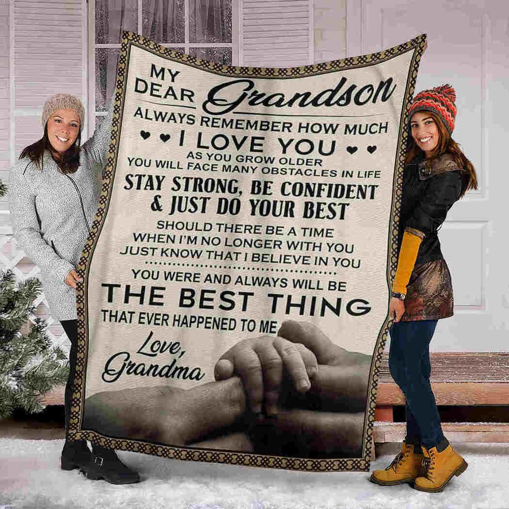 My Dear Grandson Blanket - Holding Hand - Just Do Your Best Blanket