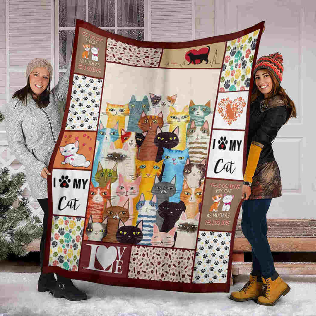 Cat Color Blanket - I Love My Cat Blanket