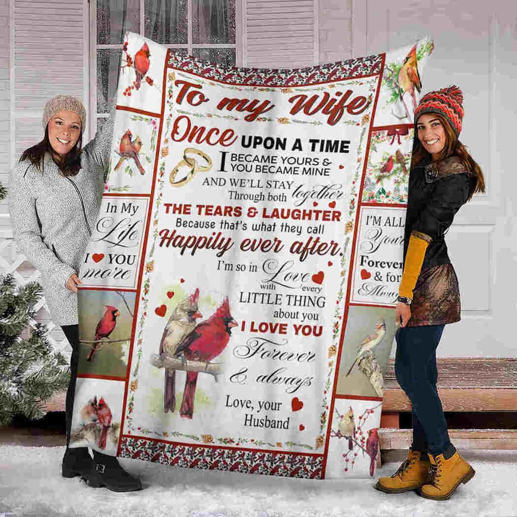 To My Wife Blanket - Cardinal Bird Blanket - I Love You Blanket