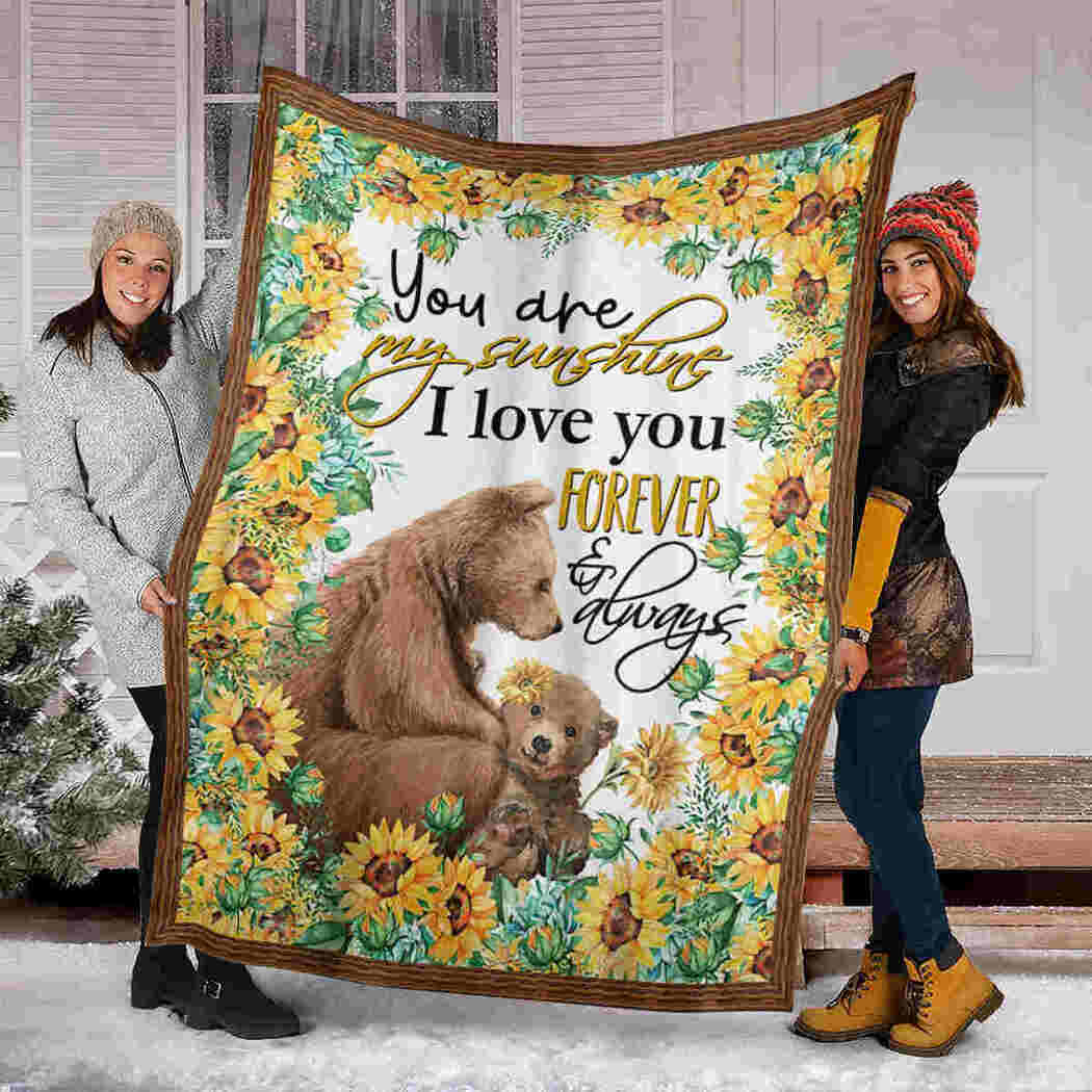 Bear And Sunflower Blanket - You Are My Sunshine Blanket