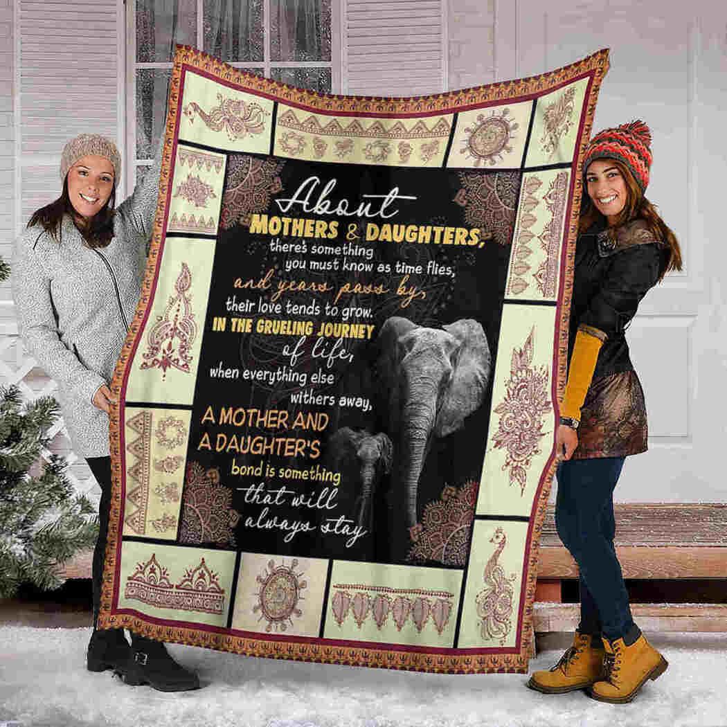 About Mothers & Daughters Blanket - Mandala Elephants Blanket