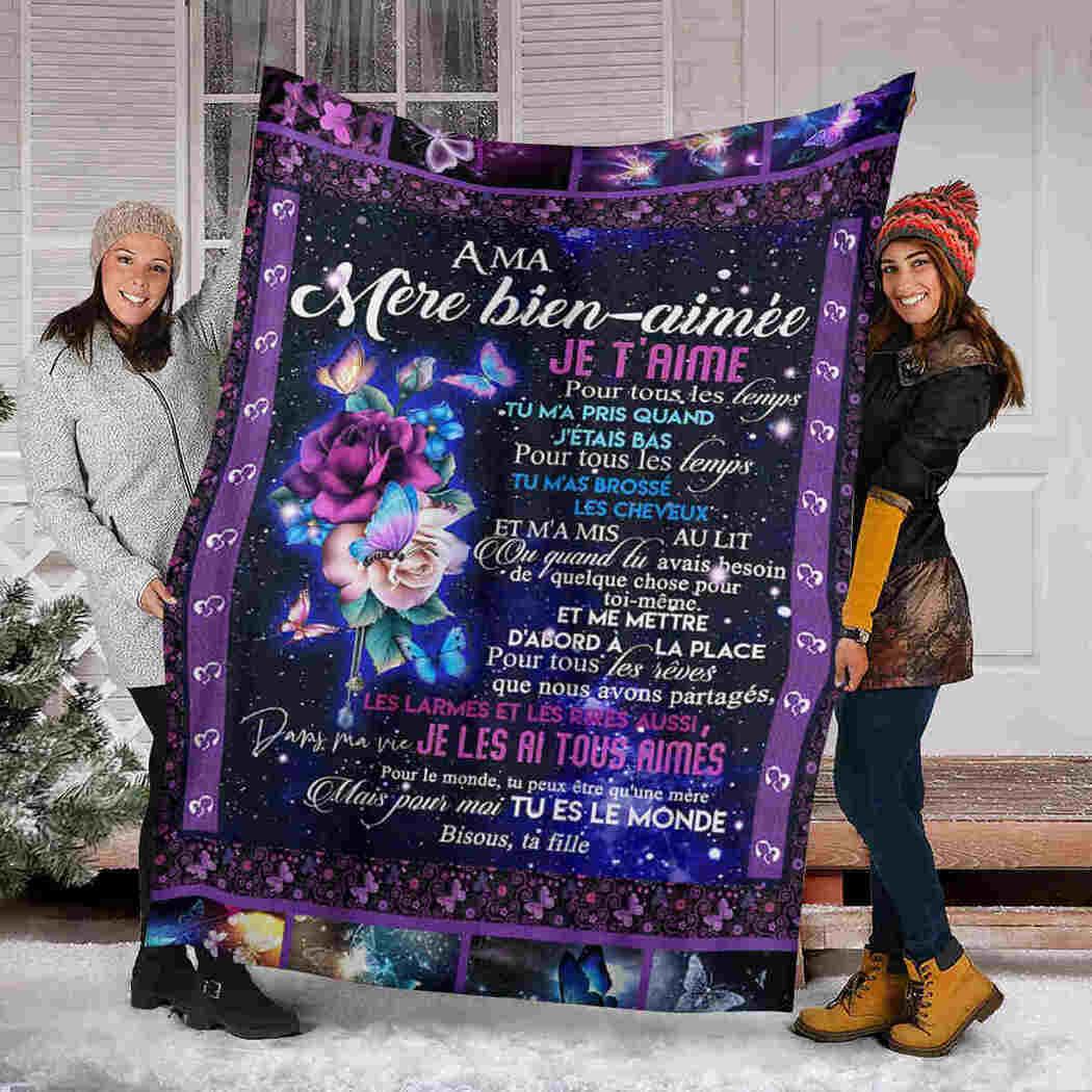 A Ma Mere Bien-aimee Blanket - Flower - To My Beloved Mother Blanket