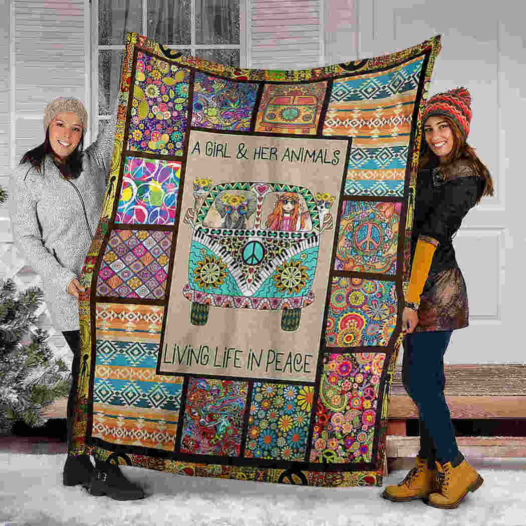 Elephants Hippie Blanket - A Girl And Her Animals Living Life In Peace Blanket