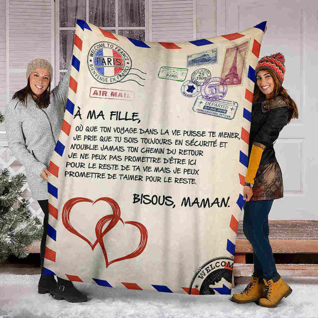 A Ma Fille Blanket - Love Air Mail - To My Daughter Blanket