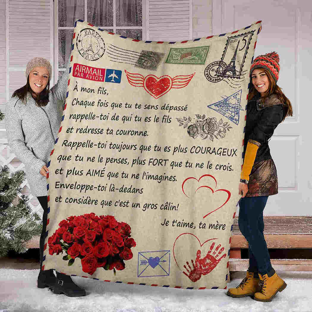 A Mon Fils Blanket - Love Air Mail - To My Son Blanket