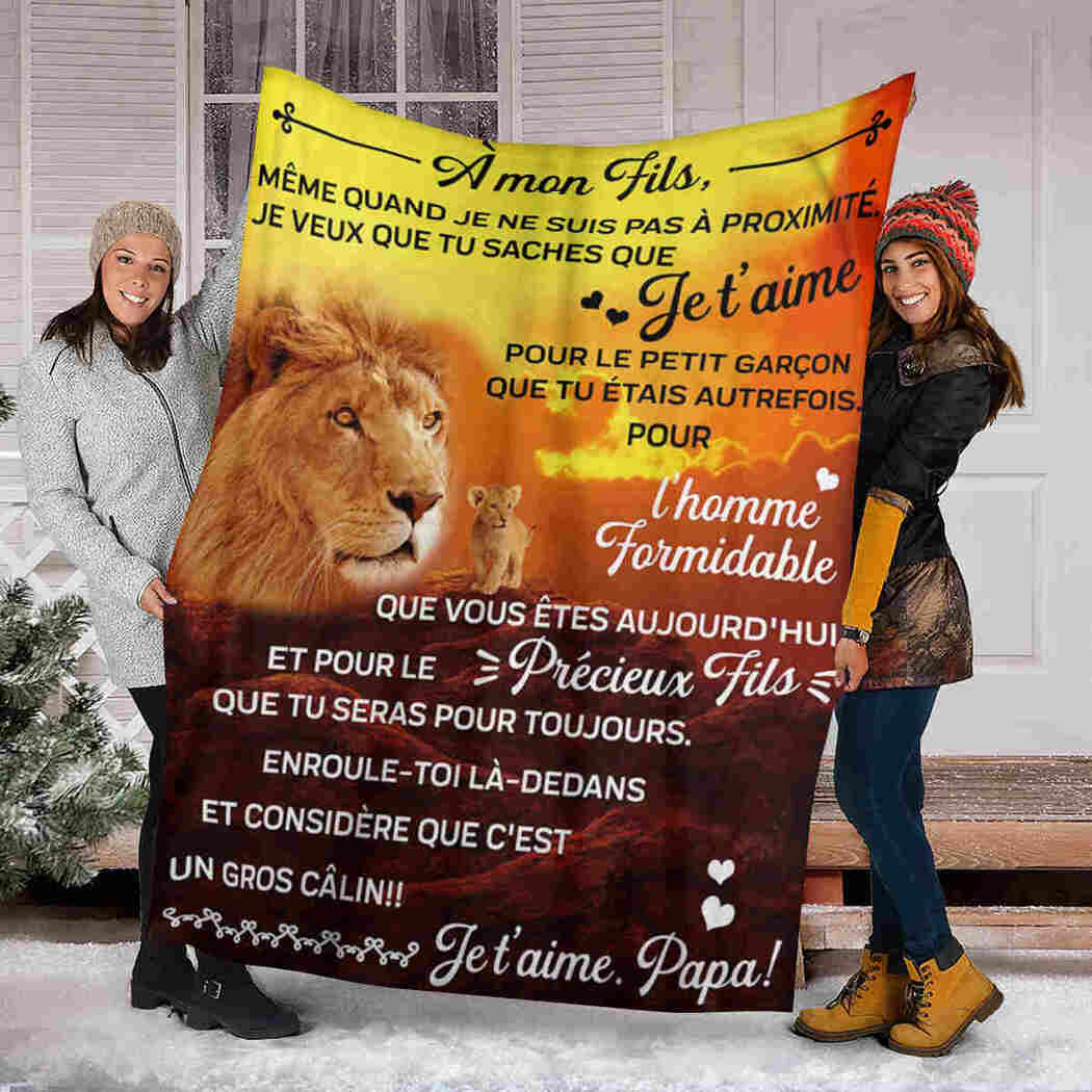 À Mon Fils - To My Son - Lion Blanket - I Love You Forever And Always Blanket