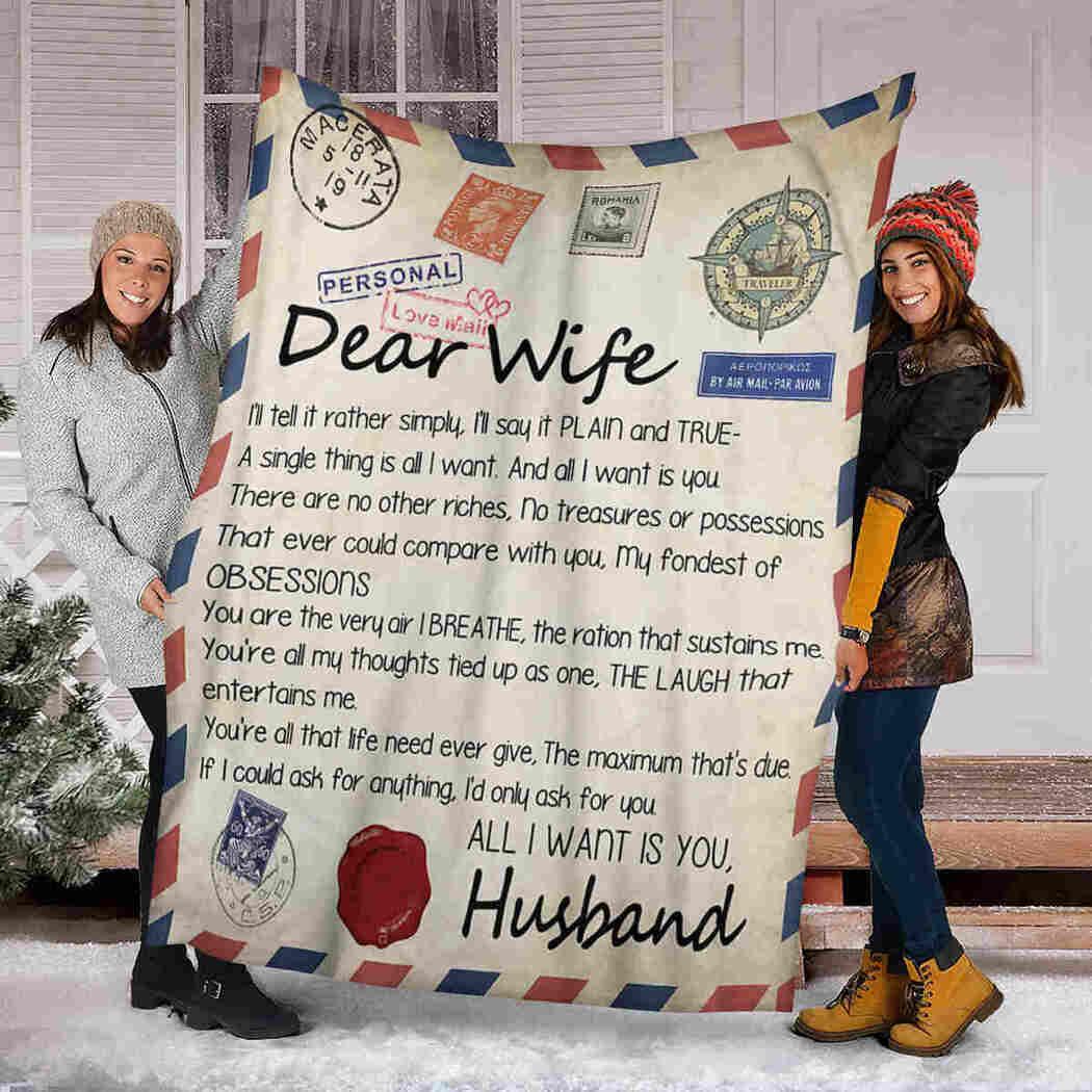 Dear Wife Blanket - Love Air Mail - I Love You Blanket