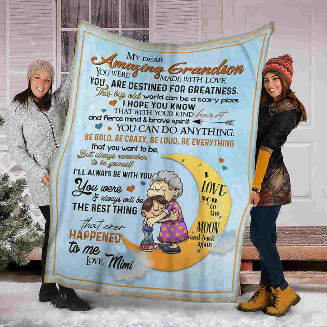 My Dear Amazing Grandson Blanket - You Can Do Anything Blanket