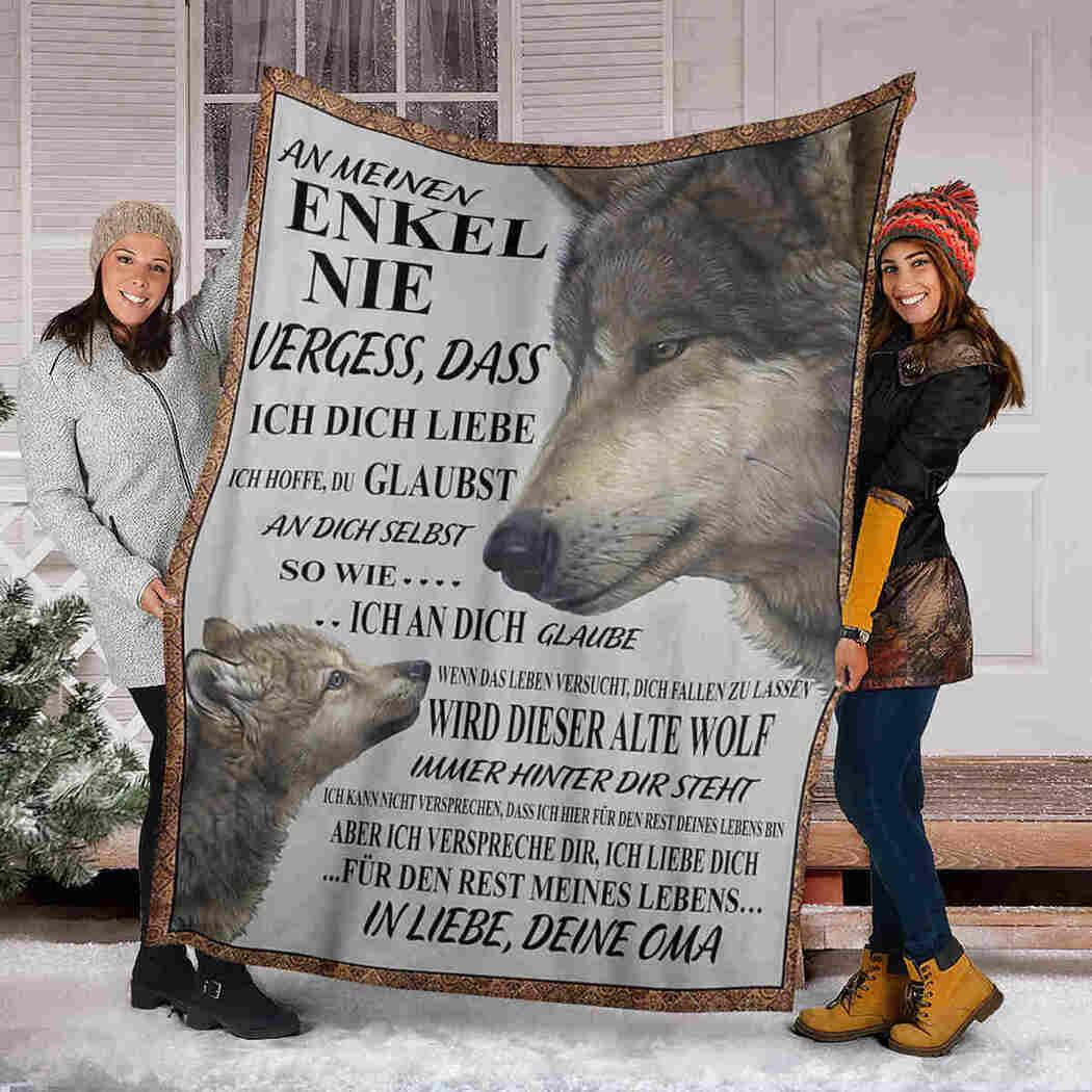 An Meinen Enkel Blanket - Wolf Beauty - To My Grandson Blanket