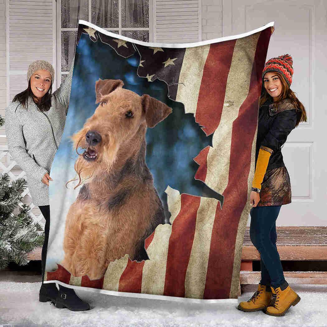 Beautiful Airedale Terrier Blanket - Dog American Flag Blanket