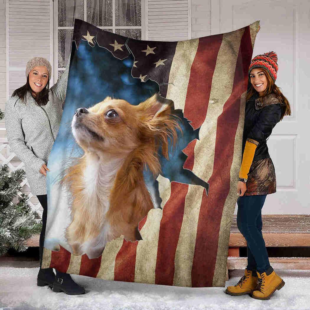 Beautiful Chihuahua USA Flag Blanket - Native Dog Blanket