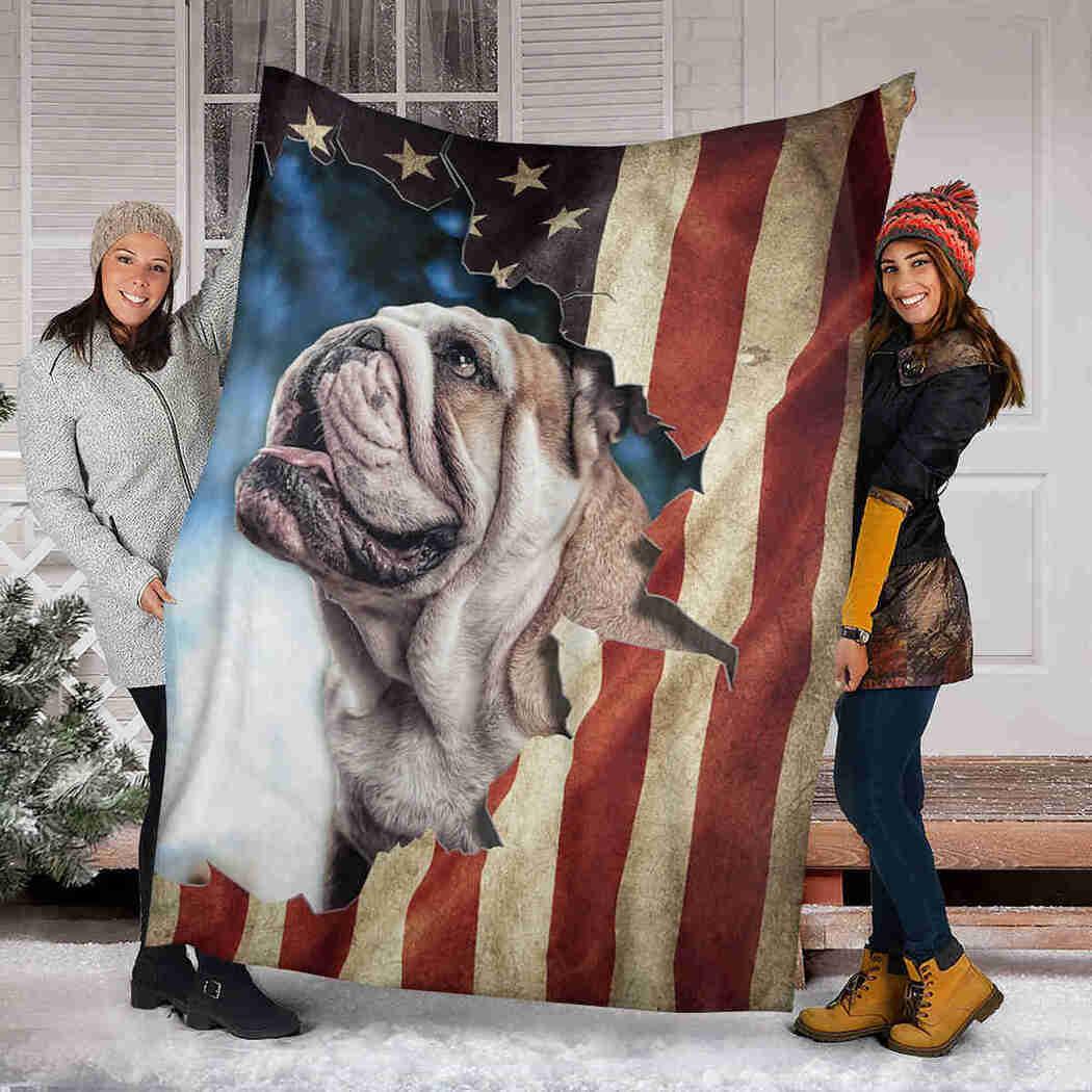 Beautiful English Bulldog Blanket - Vintage USA Flag Dog Blanket