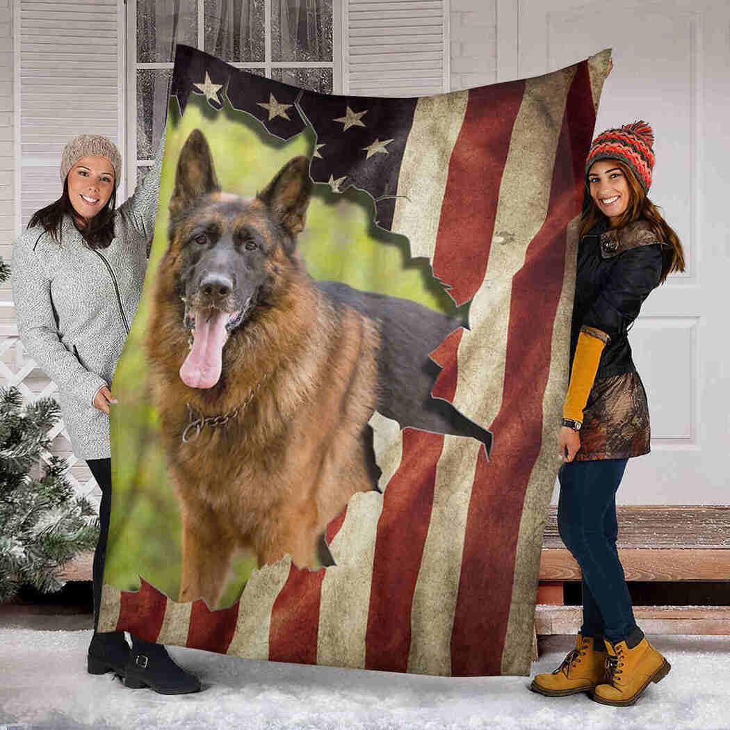 Beautiful German Shepherd And Flag Blanket - Native American Dog Blanket