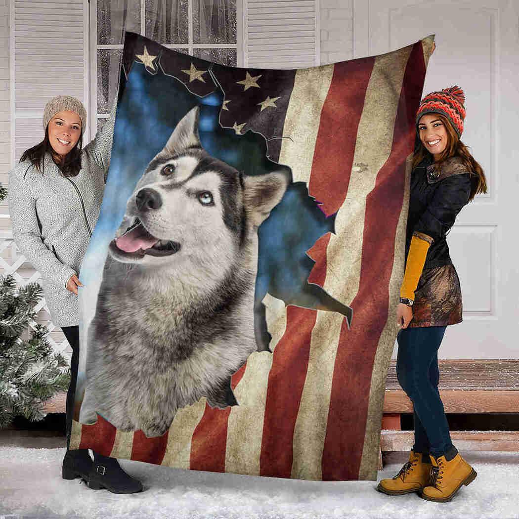 Beautiful Husky Native Blanket - Dog American Cute Blanket