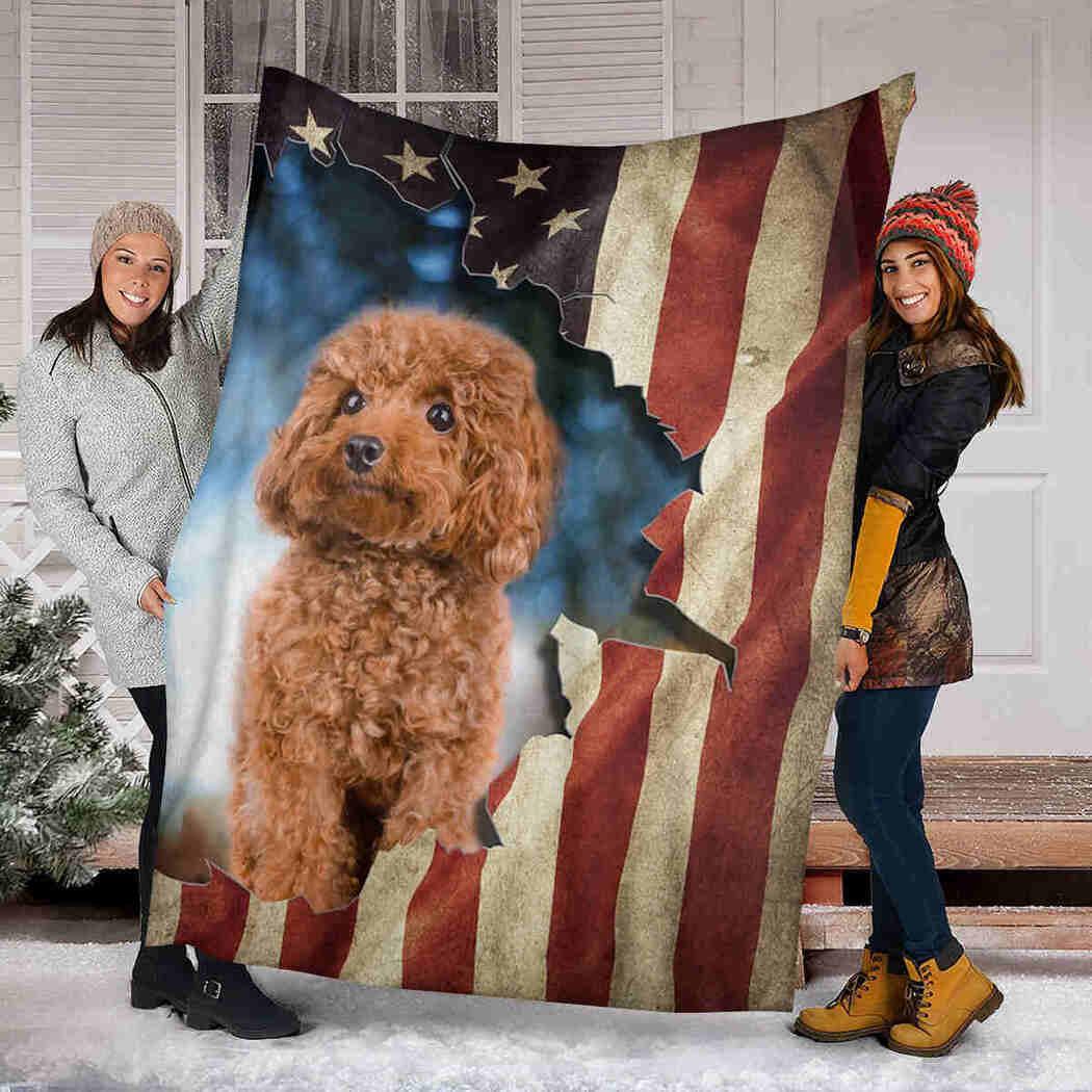 Beautiful Poodle Native Blanket - Dog USA Flag Blanket