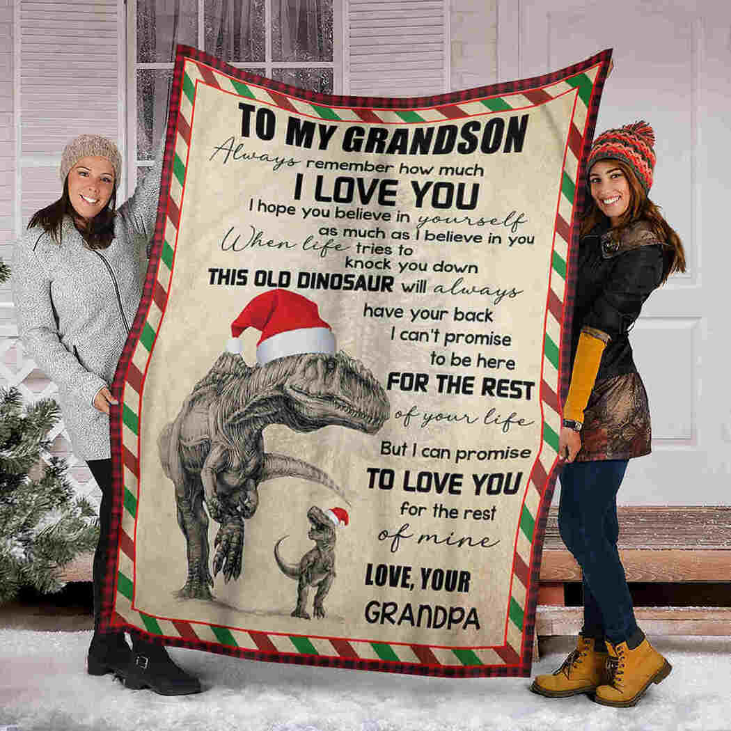 To My Grandson - Dinosaur Christmas - Love You For The Rest Of Mine Blanket