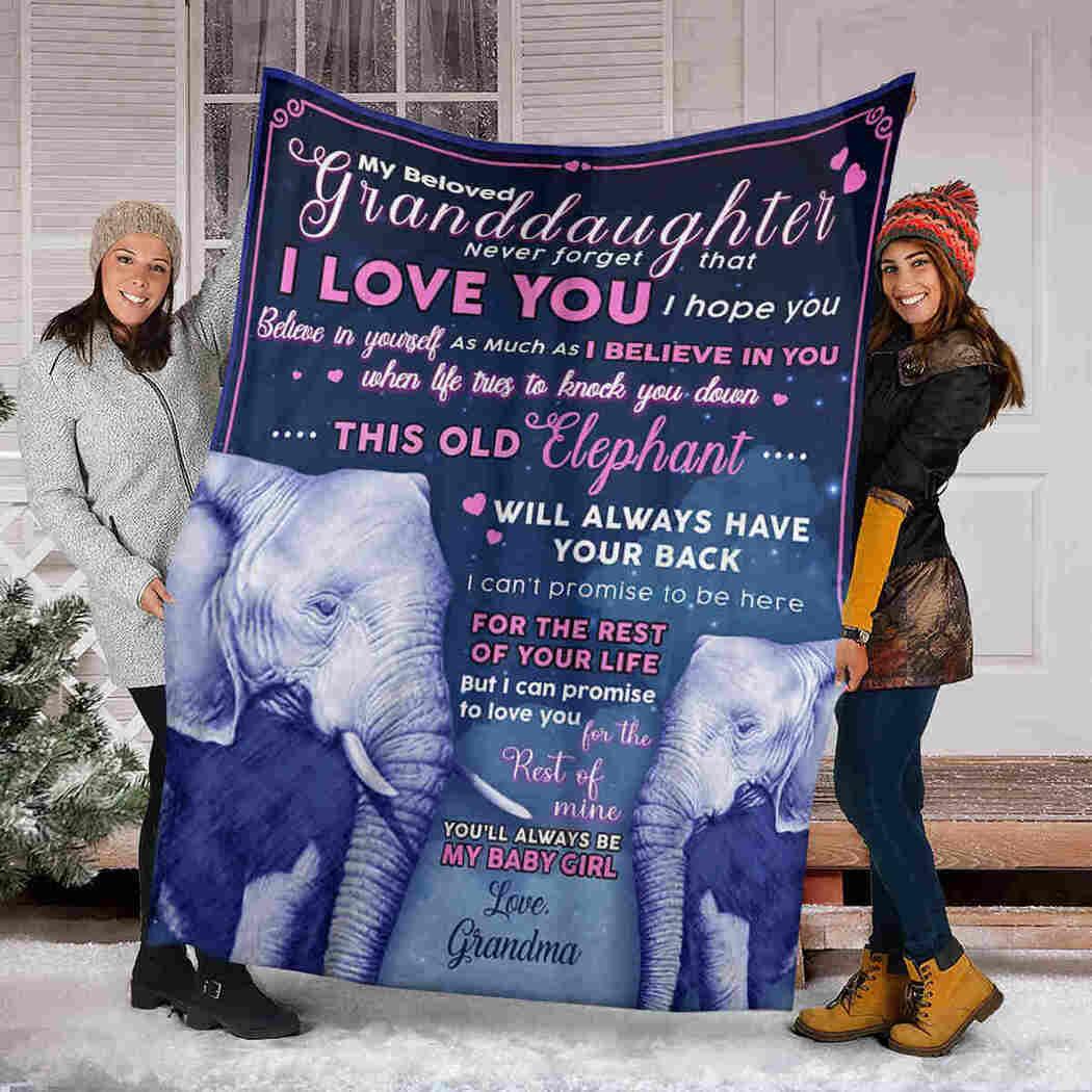 My Beloved Granddaughter - Elephants - I Believe In You Blanket