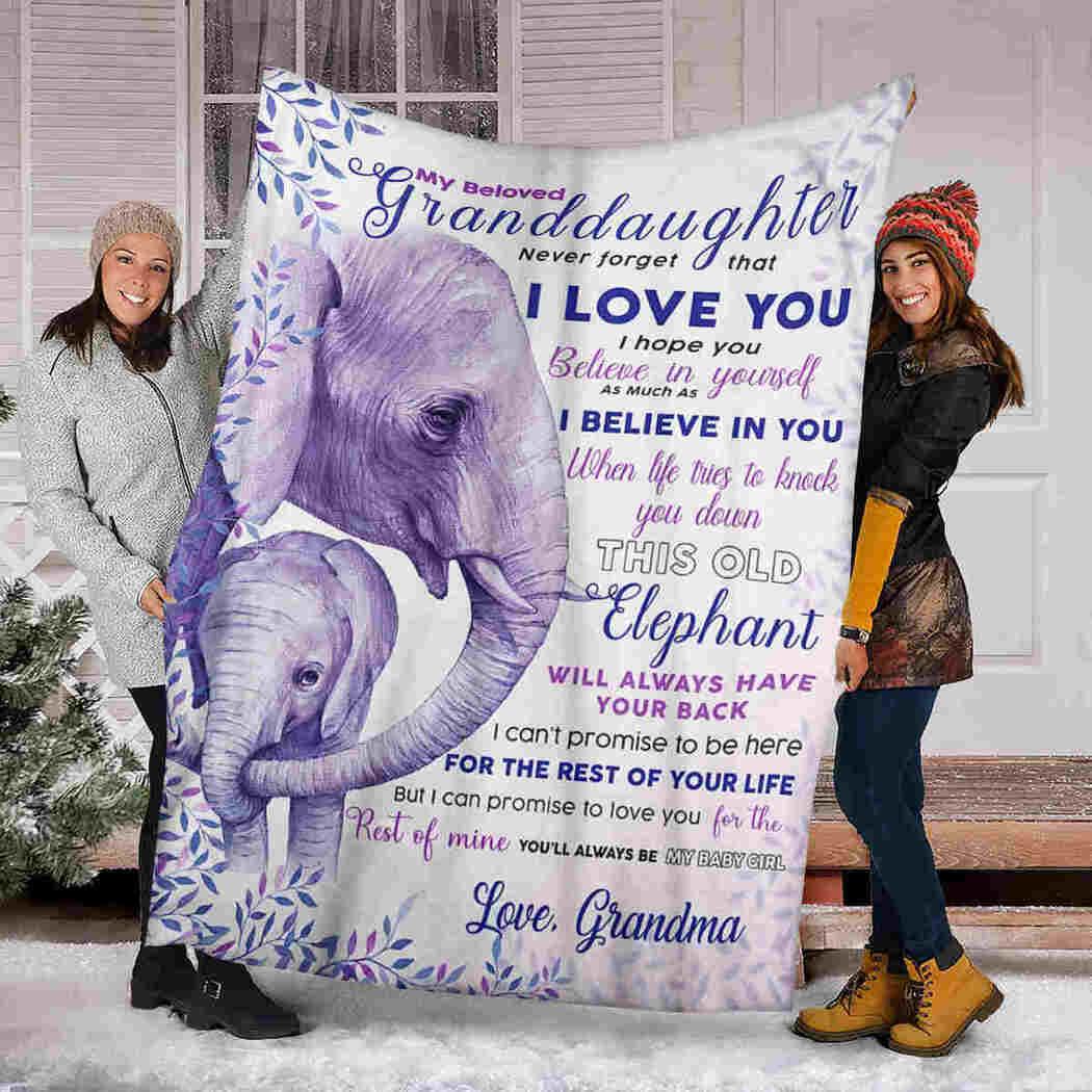 My Beloved Granddaughter - Purple Elephant Blanket - I Belive In You