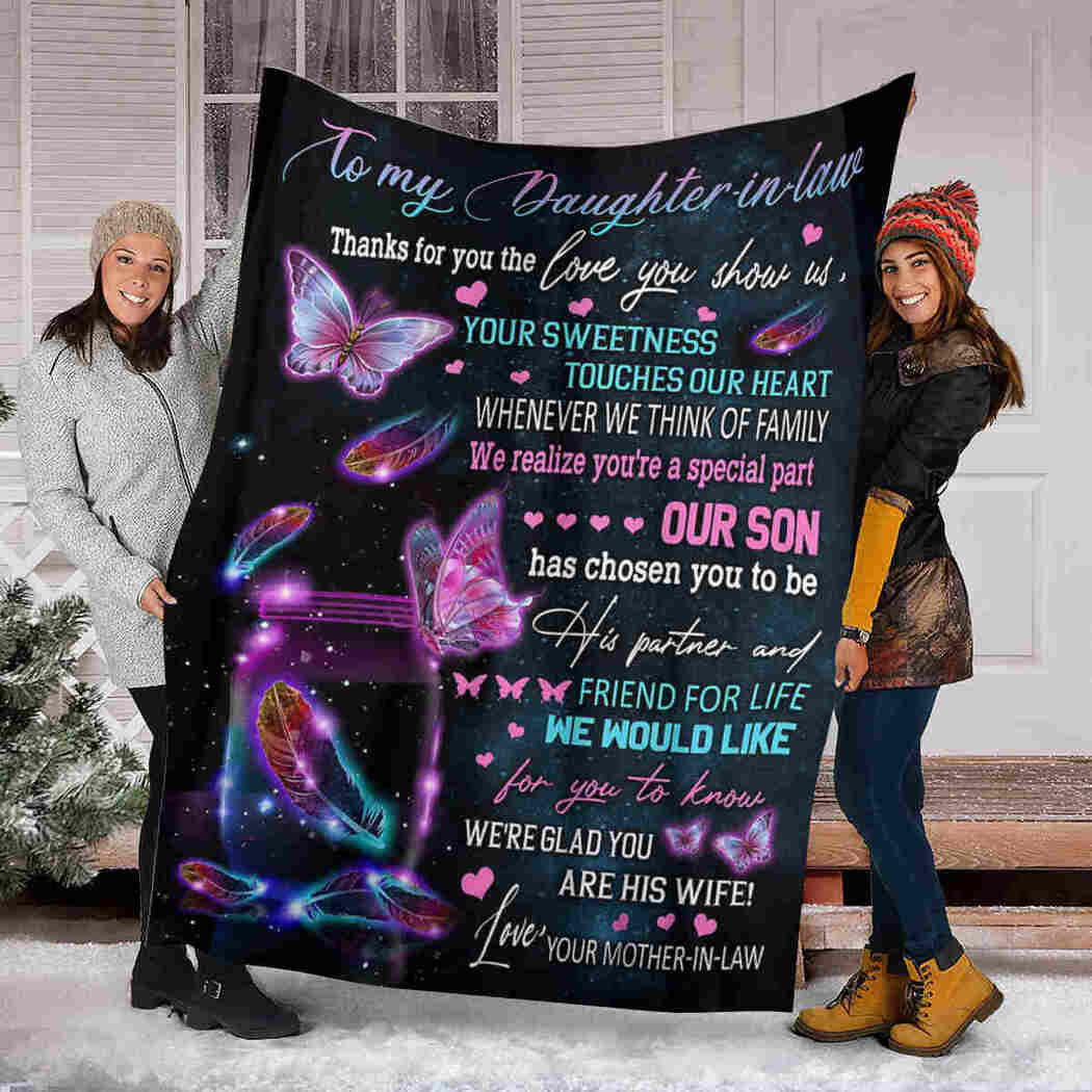 To My Daughter In Law Blanket - Hummingbird Butterfly - You Are A Special Part Our Son Blanket