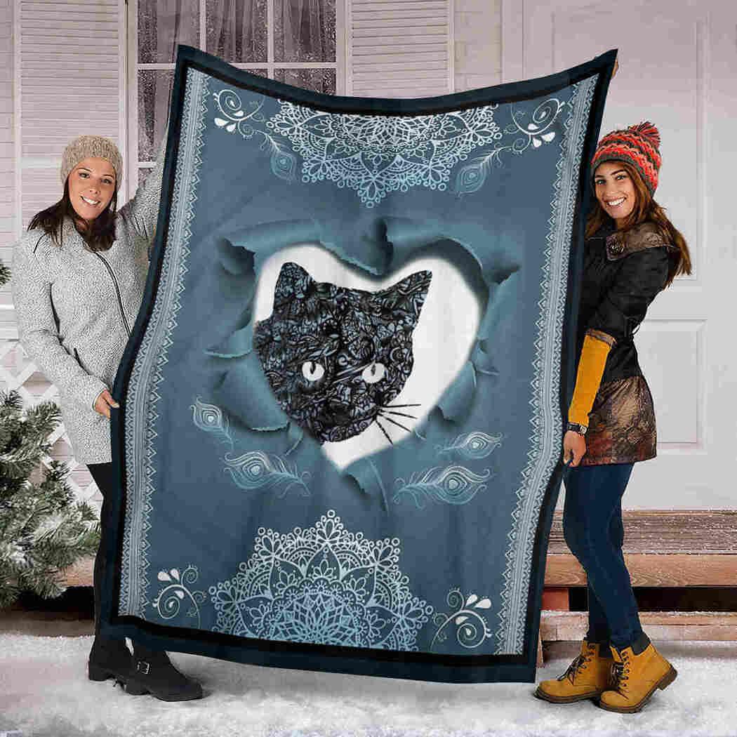 Black Cat Blanket - Pattern Blue Blanket