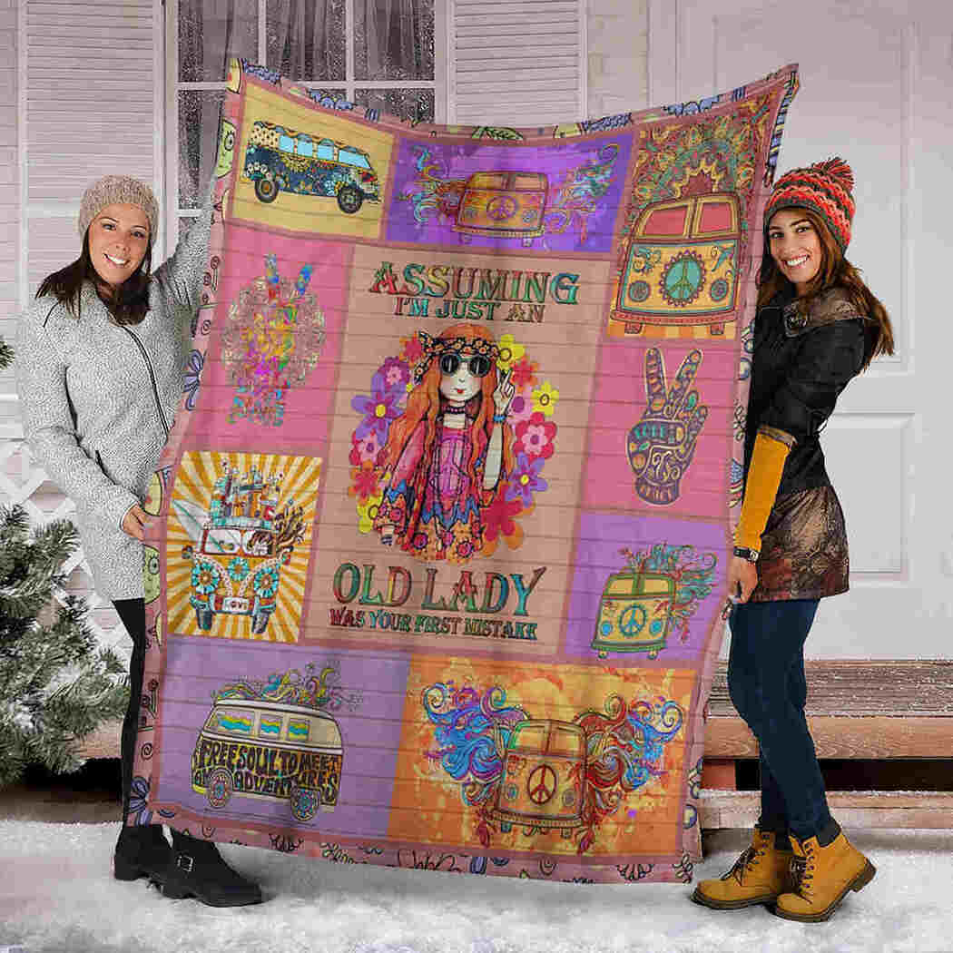 Hippie Girl Blanket - Old Lady Was Your First Mistake Blanket