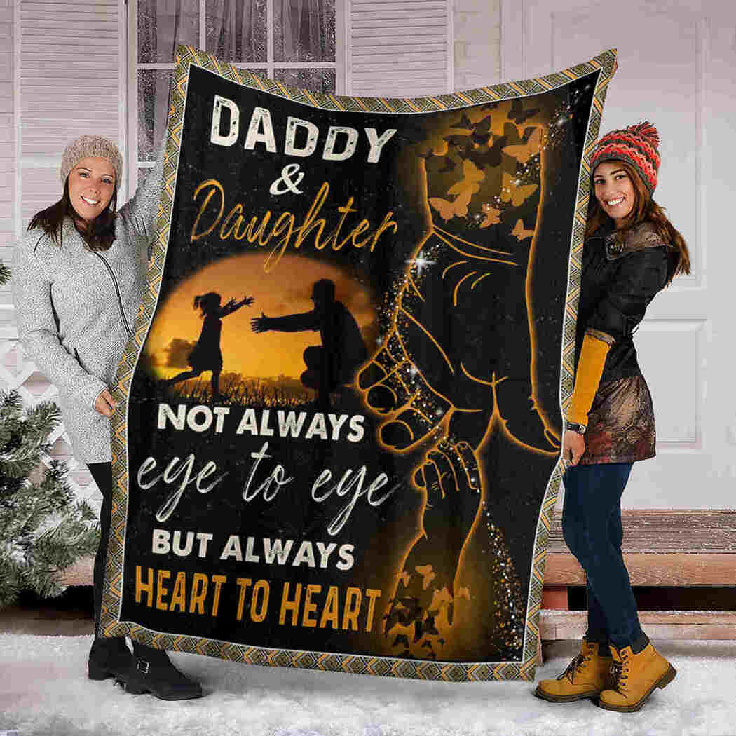 Daddy & Daughter Blanket - Holding Hand - Always Heart To Heart Blanket