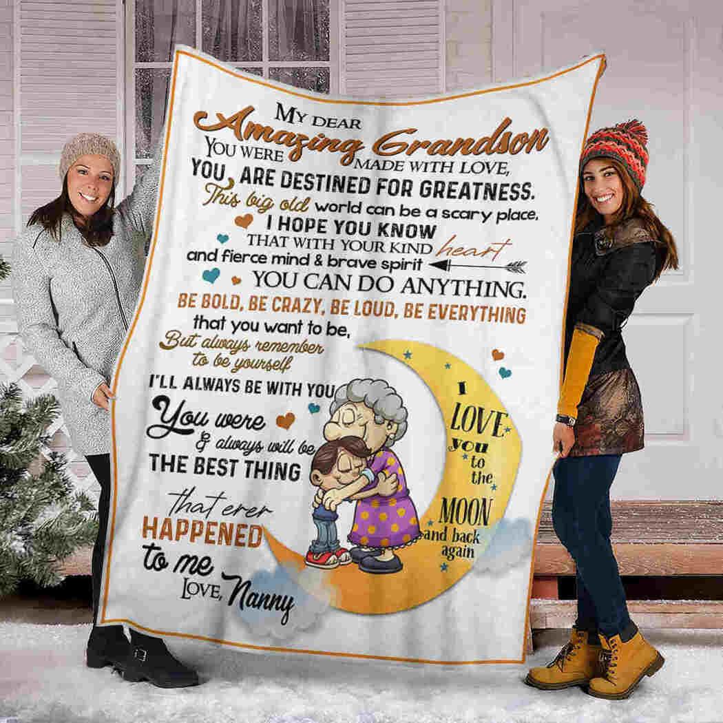 My Dear Amazing Grandson - Grandma - You Can Do Anything Blanket