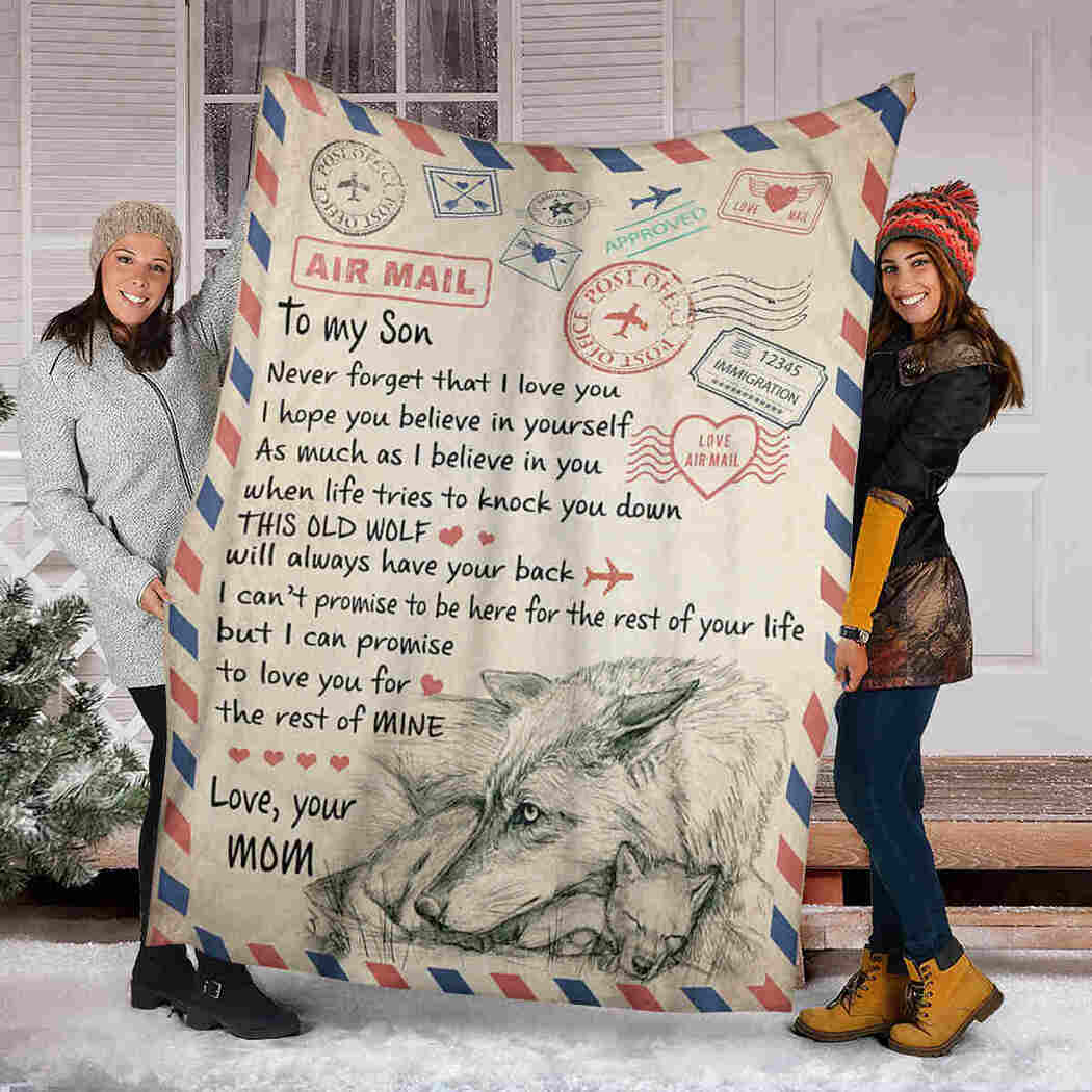 Air Mail Wolf Blanket - To My Son Blanket - I Believe In You Blanket