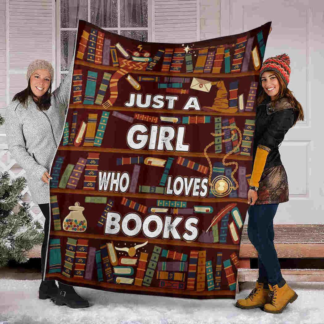 Vintage Librarian Blanket - Just A Girl Who Loves Books Blanket