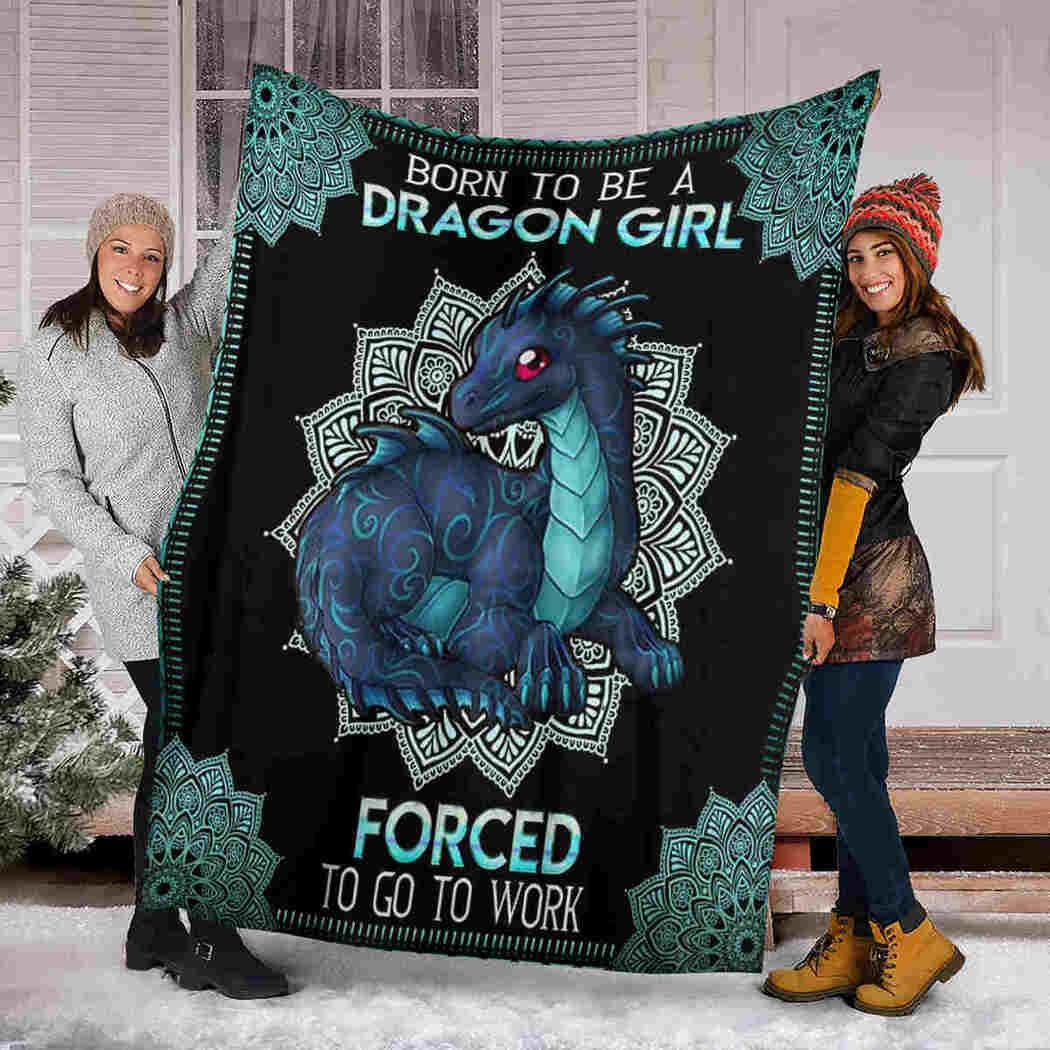 Born To Be Dragon Girl Blanket, Dragon Mandala Blanket