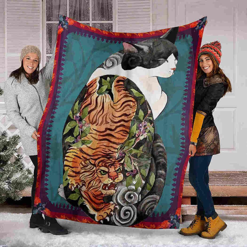Botanicat Yakuza Cat Blanket - Cat & Tiger Blanket